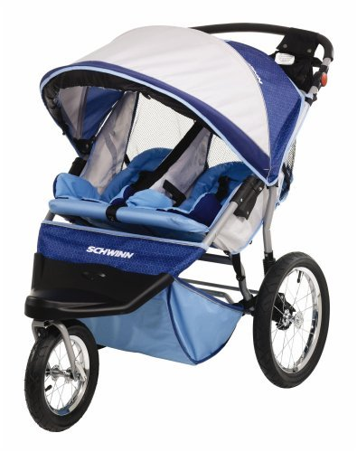 Schwinn Free Wheeler ST Double Jogging Stroller (Light Blue/Blue)