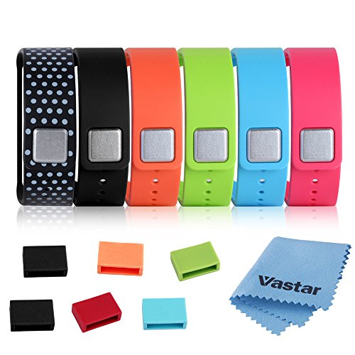 Vastar ® 6 in 1 (Black / Pink / Green / Light Blue / Orange / Black with White Dots Spots) Replacement Bands & Metal Clasps + 6 Silicon Fastener Rings, for Samsung Galaxy Gear Fit Smart Watch Bracelet Wristband Wireless Activity Bracelet Sport Bracele...