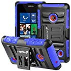 Fosmon STURDY Shock Absorbing Dual Layer Hybrid Holster Cover Kickstand Case for Nokia Lumia 521 (Dark Blue)