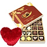 Valentine Chocholik's Belgium Chocolates - Venturing Milk And White Collection Of Chocolates With Heart Pillow