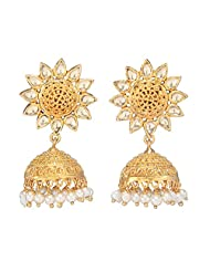 Amethyst By Rahul Popli White Gold Plated Jhumki Earrings
