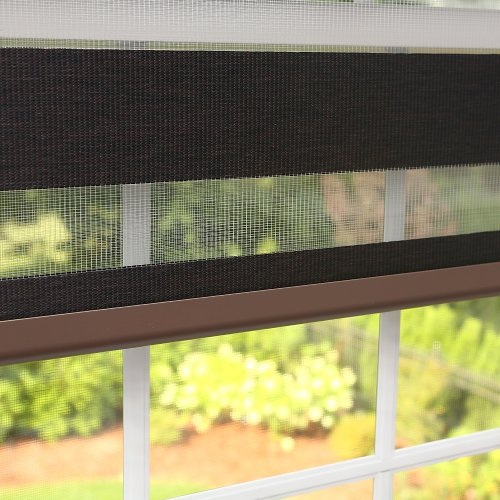 Best home fashion charcoal premium wood look duo roller for 15 inch window blinds