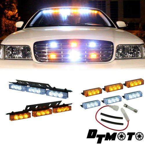 Amber White 18X Led Utility Truck Vehicle Warning Dash Grille Deck Lights - 1 Set