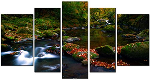 obella-new-wall-art-canvas-prints-5-pieces-mountain-stream-inner-framed-ready-to-hang-oil-paintings-