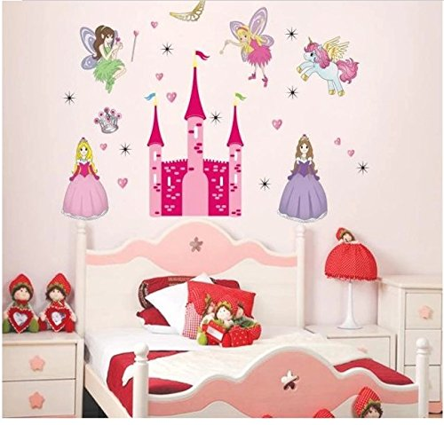 Home Wall Decor Decals Poster House Wall Stickers Quotes Removable Vinyl Large Wall Sticker For Kids Rooms Princess Castle W-695
