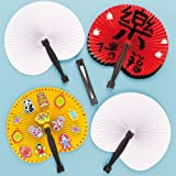 Chinese Concertina Fans for Children to Embellish and Display Pack of 6