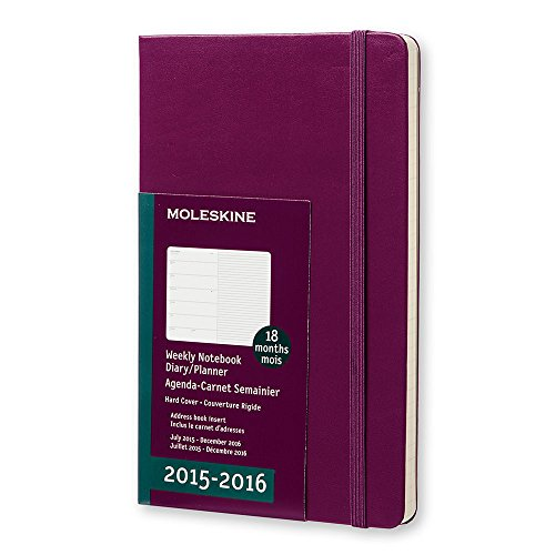 Moleskine 2015-2016 Weekly Notebook, 18m, Large, Mauve Purple, Hard Cover (5 X 8.25)