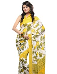 Fabdeal Women Georgette Printed Saree With Blouse Piece