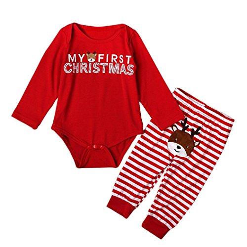 Christmas Set Romper, Eenkula 2016 New Baby Girls Outfit Long Sleeve Rompers Top+Stripe Leggings Christmas Set (12M)