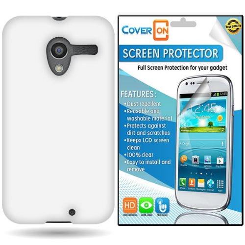 Coveron® Motorola Moto X Silicone Rubber Soft Skin Case Cover Bundle With Clear Anti-Glare Lcd Screen Protector - White