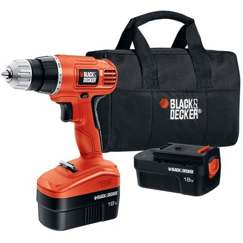 Black & Decker GCO18SB-2 18-volt Cordless Drill/Driver with 2 Batteries and Storage Bag