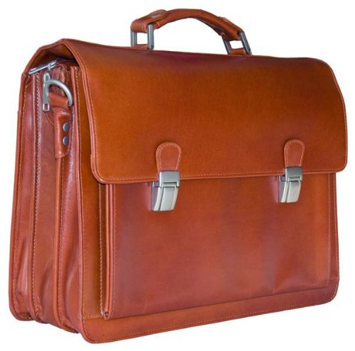EXECUTIVE ITALIAN COGNAC REAL LEATHER BRIEFCASE