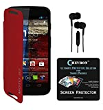 Chevron Flip Cover For Moto G 2nd Gen With Chevron HD Screen Guard & 3.5mm Stereo Earphones (Red)