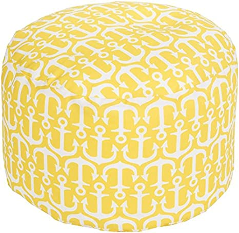 Surya POUF-304 100-Percent Polyester Pouf, 20-Inch by 13-Inch Round, Sunflower/Ivory