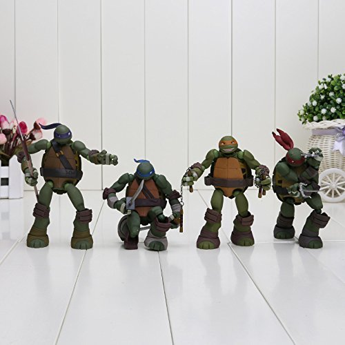 PJ's Toybox 12CM 4PCS/lot Revoltech TMNT Teenage Mutant Turtles Leonardo Michelangelo Donatello Raphael PVC Movie Action Figure Toys