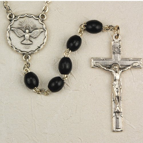 Oval Black Wood Holy Spirit Rosary, Boxed, Great for Men or Boys