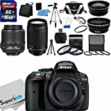Nikon D5300 24.2MP DX-Format CMOS Sensor Digital SLR Camera (Black)- Import Model with 18-55mm f/3.5-5.6G AF-S DX VR and Nikon AF Zoom Nikkor 70-300mm f/4-5.6G Lens (Manual Focus) + Wide Angle + Telephoto + Full 32GB Deluxe Accessory Bundle