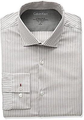 Calvin Klein Men's Stretch Xtreme Slim Fit Grid Check Spread Collar