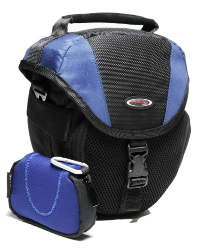 Kameratasche Foto-Tasche in Halfter-, Coltform blau-schwarz integrierte Regenschutzhaube, extrem Polsterung, mit getrennter Neoprentasche für Canon EOS 600D 70D 1200D 1100D - Nikon D7100 D7000 D5300 D5200 D5100 D3300 D3200 D3100 D610 D3300 D3200 - Sony Alpha 7 3000 A58 A57 A37 6000 5000 Nex und viele andere (siehe Beschreibung)