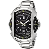 Seiko Men's Quartz Watch with Black Dial Analogue Display and Silver Stainless Steel Bracelet SNQ089P1