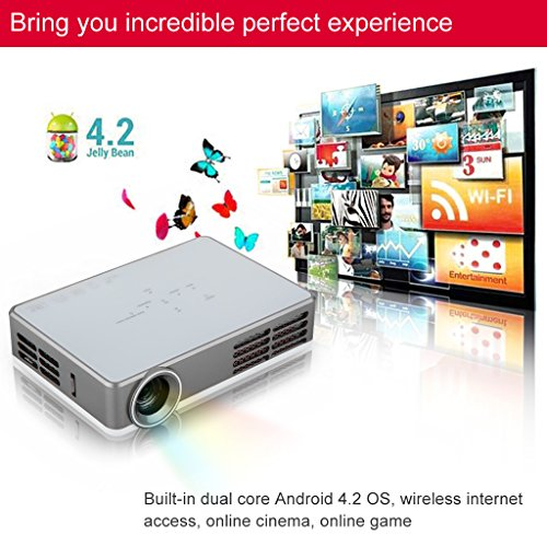 Excelvan® Smart Projector With Android 4.2 Cpu, Led, High Speed Wi-Fi, 1280X800 Resolution, 3D And Blu-Ray Compatible+Free Hdmi Cable