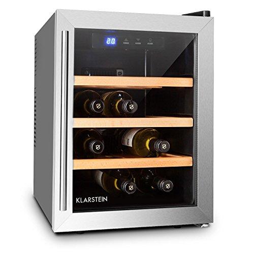 Klarstein Reserva 12 Uno Cantinetta Frigorifero Frigo Per Vino da 12 bottiglie CLASSE A+ (33 Litri, 3 ripiani, porta in vetro con doppio isolamento, illuminazione interna LED)