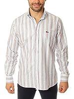 VICKERS Camisa Hombre Harvard (Blanco Apagado / Rosa / Verde)