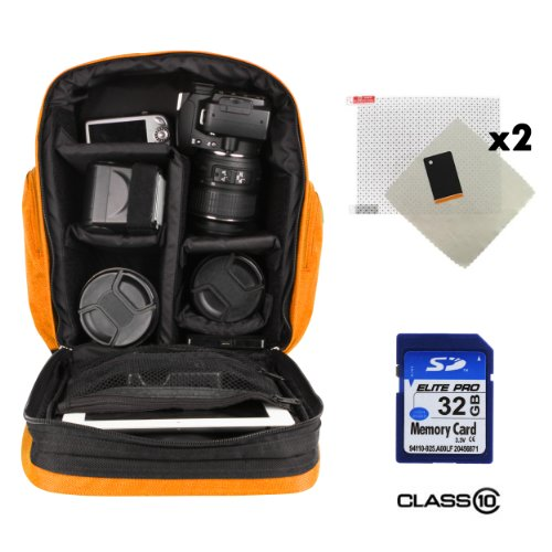 Sparta Adventure Backpack Bag For Olympus Pen E-P5 / Pen E-Pl5 / Pen E-Pm2 Digital Camera + 32Gb Class 10 Sd Card + Screen Protector (X2)