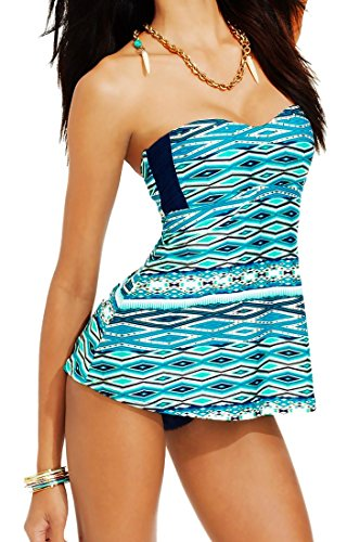 Jessica Simpson Empire Waist Babydoll Tankini Swimsuit Top & Bottom, Large