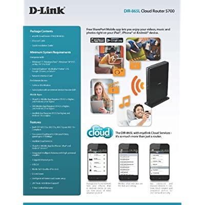 D-Link Wireless AC 1750 Mbps Home Cloud App-Enabled Dual-Band Gigabit Router (DIR-865L)