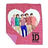 One Direction Pink Zebra Throw - Features 1D in a Heart