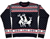 Ugly Christmas Sweater - Reindeer Threesome Sweater featuring Rudolph by Skedouche