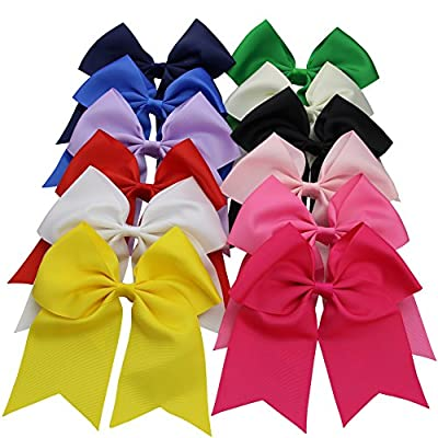 "QtGirl 12 Pieces 7"" Mix Colors Extra Large Grosgrain Ribbon Cheerleader Bow"
