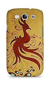 Amez designer printed 3d premium high quality back case cover for Samsung Galaxy S3 i9300 (Line bird peacock curls tail)