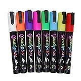M2Cbridge 5mm Tip 8 Color Liquid Chalk Pen Chalk Marker for Vinyl Chalkboard Canister Sticker