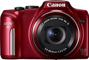 """Canon SX170 IS Appareil Photo Numerique 3"""" (7,5 cm) 16 Mpix Zoom Optique 16x USB Rouge"""