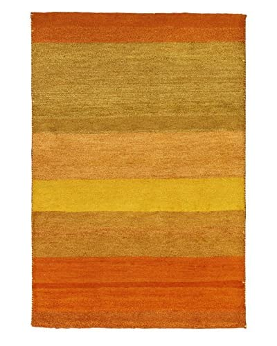 Hand-Knotted Indian Gabbeh Rug, Gold, 4' 1 x 6'