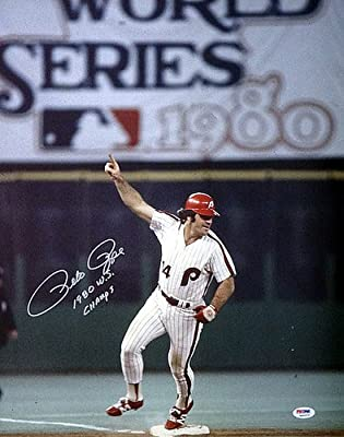 Pete Rose Philadelphia Phillies Autographed 16x20 Photo Phillies 80 WS Champs - PSA/DNA Authentic