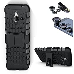 DMG Dual Hybrid Hard Grip Rugged Kickstand Armor Case for Microsoft Lumia 640 XL (Black) + 3in1 Fisheye Wide Angle and Macro Lens
