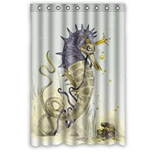 Funny Sea World Sea Horse Watercolour Shower Curtain Shower Rings Included 100