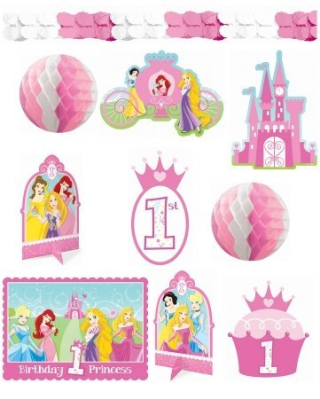 Amscan - Disney 1st Birthday Princess Room Decorating Kit, Multi-colored