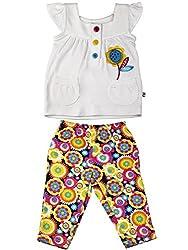 Littleopia Baby Girls' Dress (L01-1212 -13A-A_White Colour Floral Print_0-3 Months)