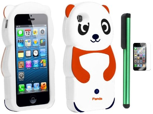=>  Orange White Smile Panda Silicone Jelly Skin Premium Design Protector Soft Cover Case Compatible for Apple Iphone 5 (AT&T, VERIZON, SPRINT) + Screen Protector Film + Combination 1 of New Metal Stylus Touch Screen Pen (4