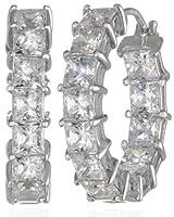 """Sterling Silver Swarovski Zirconia 3/4"""" Princess Hoop Earrings by Elite Group International NY Inc.- ACC"""