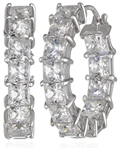 "Sterling Silver Swarovski Zirconia 3/4"" Princess Hoop Earrings by Elite Group International NY Inc.- ACC"