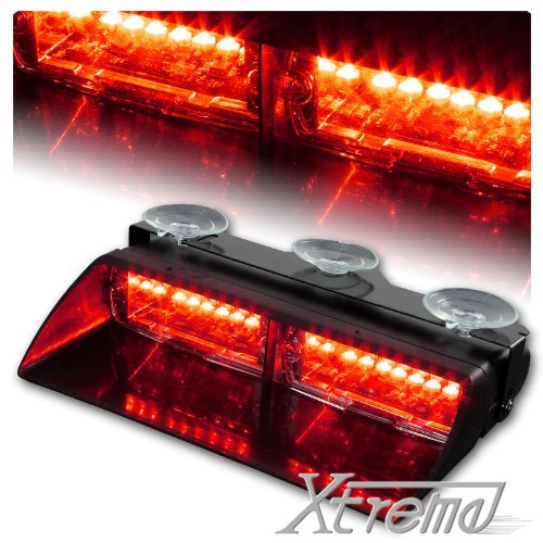 Xtreme® Red 16 Led High Intensity Led Law Enforcement Emergency Hazard Warning Strobe Lights For Interior Roof / Dash / Windshield With Suction Cups