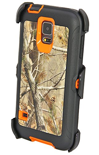 Huaxia Datacom Hunting Tough Camo Tree Shockproof High Impact Hybrid Defender Case Cover w Belt Clip Holster for Samsung Galaxy S5 SV i9600 Not for S5 active - Camo Tree on Orange Core