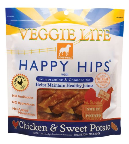Dogswell Veggie Life Happy Hips, Chicken & Sweet Potato, Treats For Adult Dogs, 15-Ounce