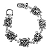 Silvertone Filigree Turtle Magnetic Bracelet Fashion Jewelry