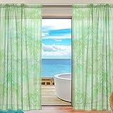 ユキオ(UKIO) 欧米 人気 飾り用 透けるカーテン 紗のカーテン レースカーテン,美しい和柄 竹 グリーン スタイルカーテン ブルー 2枚セット 幅140丈213